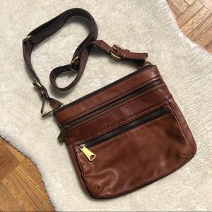 Fossil Brown Leather Cross Body Bag